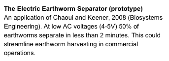 The Electric Earthworm Separator (prototype)